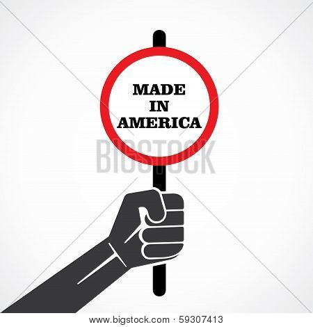 made in america banner hold in hand stock vector