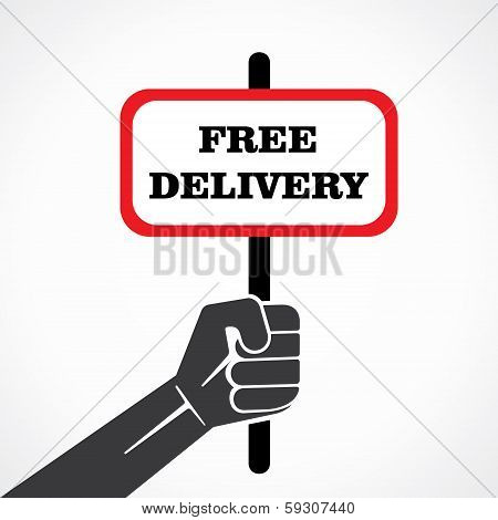 free delivery word banner hold in hand stock vector