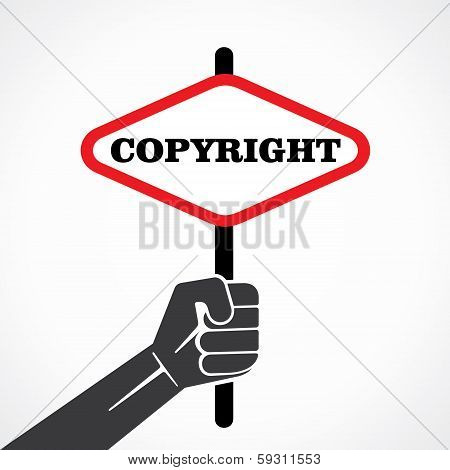 copyright word banner hold in hand stock vector