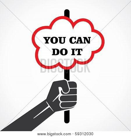 you can do it word banner held in hand stock vector