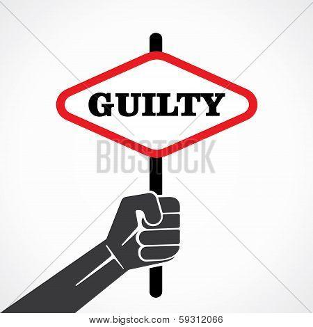 guilty word banner held in hand stock vector