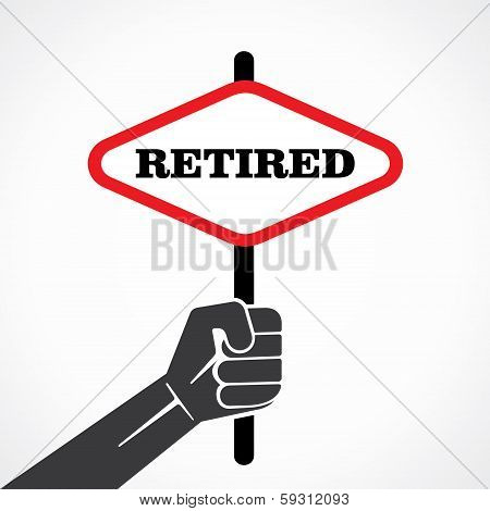 retired banner held in hand stock vector