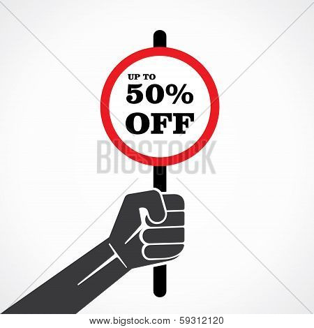 50 % off placard hold in hand stock vector
