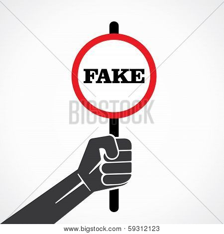 fake word placard hold in hand stock vector
