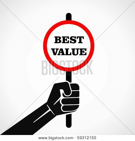 best value banner held in hand stock vector