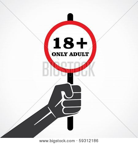 18 plus placard held in hand stock vector
