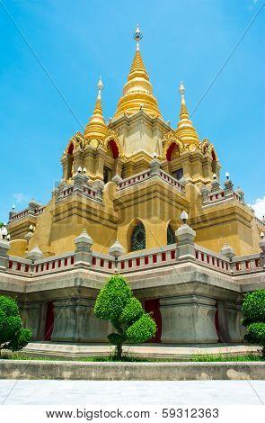 Gold Stupa Relegion Of Thailand