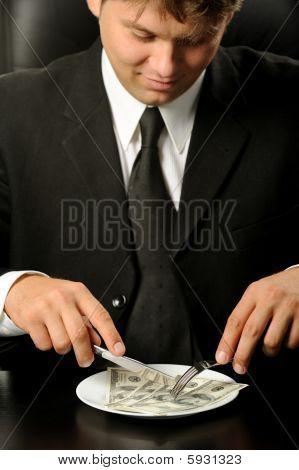 The Businessman Having Dinner Dollars