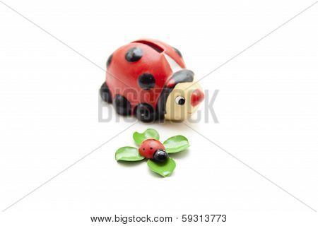 Ceramics and wooden beetle
