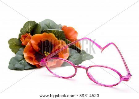 Glasses with plastic rack