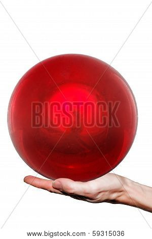 Ball On Hand On White