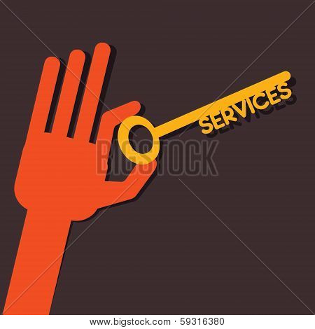 Services key in hand stock vector