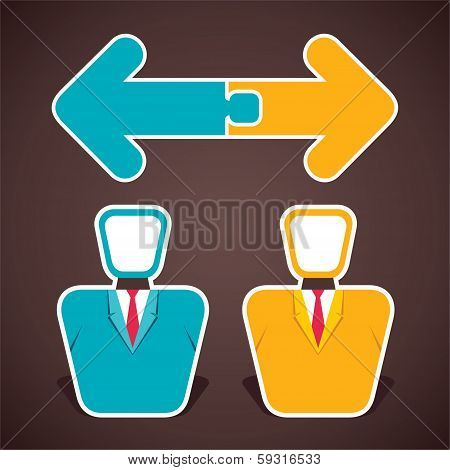 join two opposite arrow above two businessmen stock vector