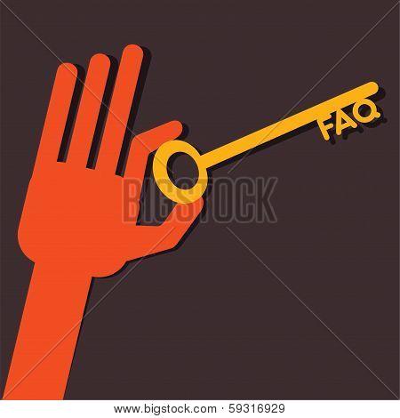FAQ key in hand stock vector