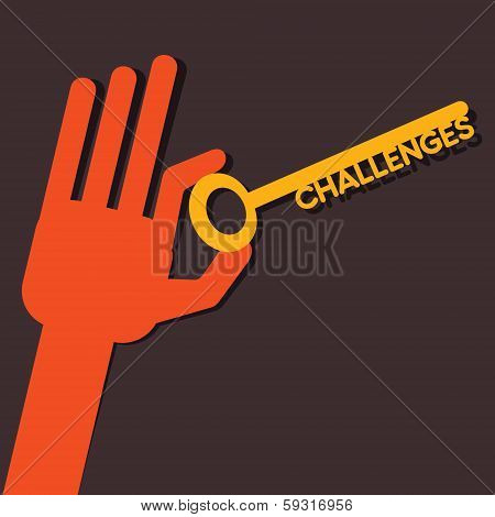 Challenges key in hand stock vector