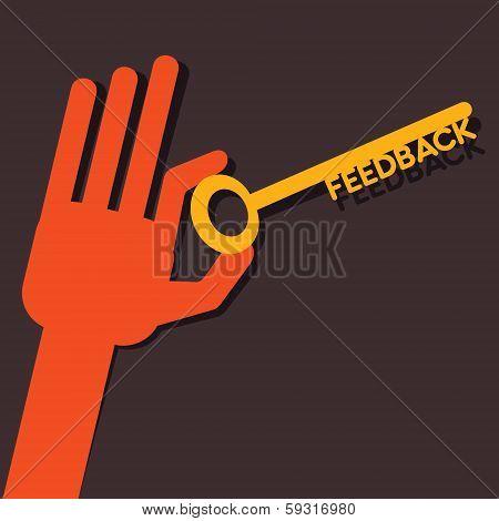 Feedback key in hand stock vector