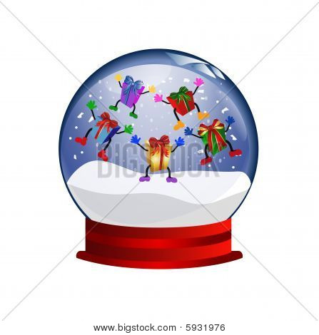 snowglobe with jumping giftboxes