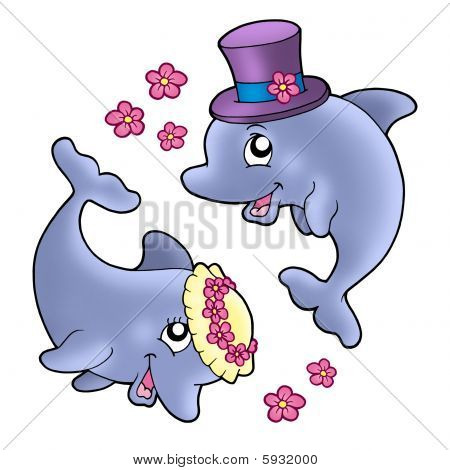 Pair Of Cute Wedding Dolphins