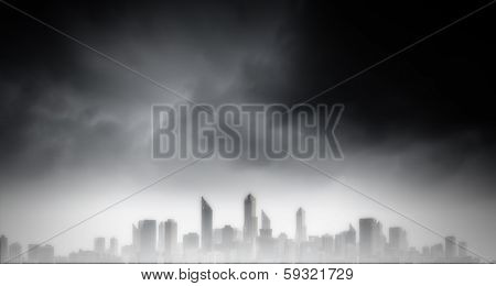Dark background image of modern city scene