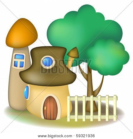 Two Mushroom Houses And Tree
