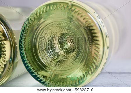 Bottle Of White Wine Viewed From Underneath