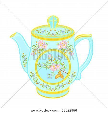 Porcelain teapot with floral pattern