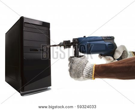 Hand And Electric Drilling Pointing To Computer Cpu Use For Hacker Steal Data Pass Word From It Tech