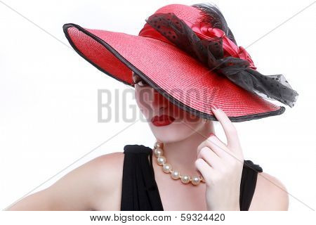 Sensual Lady Wearing a Red Hat on White Background