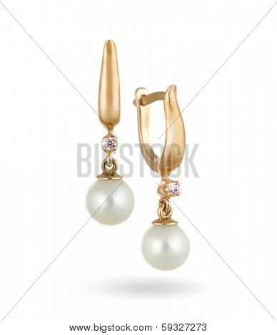 Pair of Beautiful Gold Earrings with Diamonds and Natural Pearls / Isolated on White background