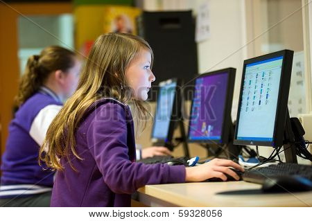 Girl Working With Computer