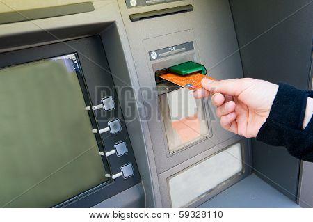 Bank Card Into Atm