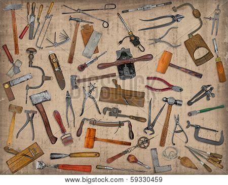 Vintage Tools Mix Collage