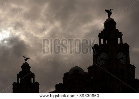 Liver Buildings Silhouette Against Moonlit Sky