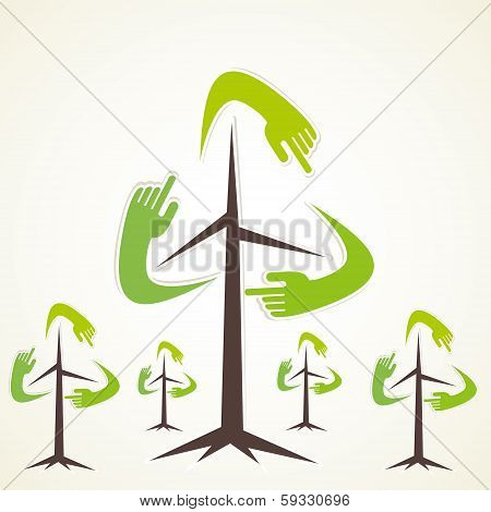 creative hand recycle tree vector