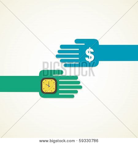 exchange time and money concept vector