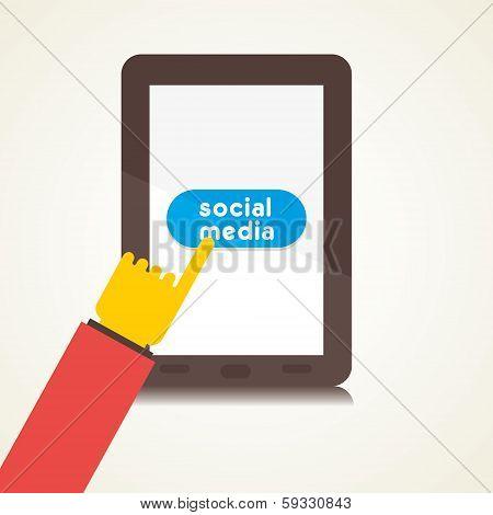 social media use on tablet vector