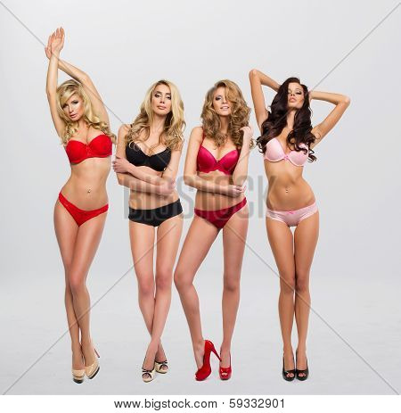 Beautiful Women In Full Growth Pose In Front Of The Chamber In Lingerie poster