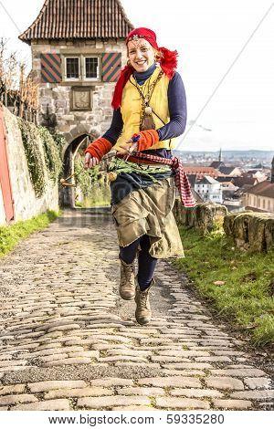 Gypsy Girl Running Medieval Way