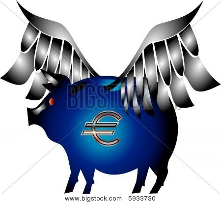 Euro Piggy Bank with wings