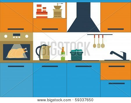 Flat vector illustration with kitchen