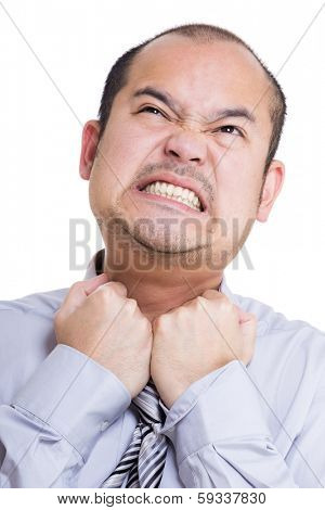 Businessman feel suffocate