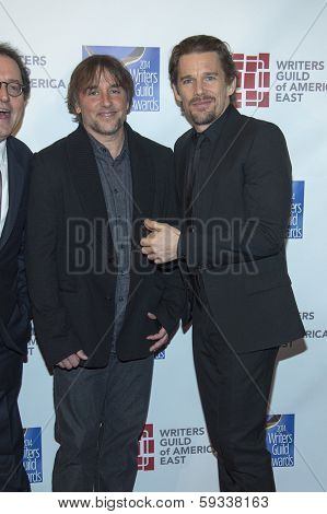 NEW YORK-FEB 1: Actor Ethan Hawke (R) and director Richard Linklater attend the 66th Annual Writers Guild Awards Ceremony at the Edison Ballroom on February 1, 2014 in New York City.