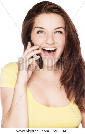 Woman On The Phone Laughing