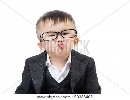 Business baby kissing
