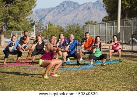 Fitness Class Squatting