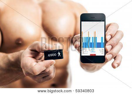 activity tracker muscular sports man