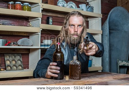 Drunk Western Man At Table