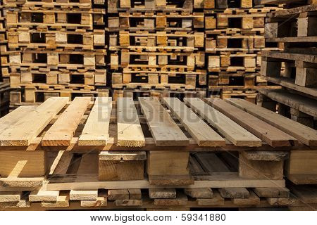 Wooden transport pallets.
