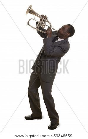 Afroamerican Jazz Musician With Flugelhorn