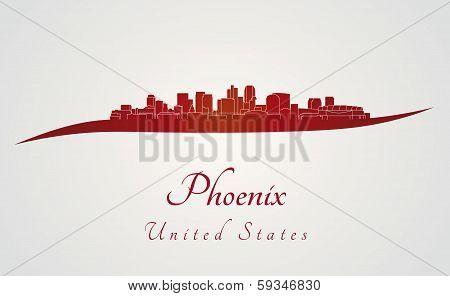 Phoenix Skyline In Red